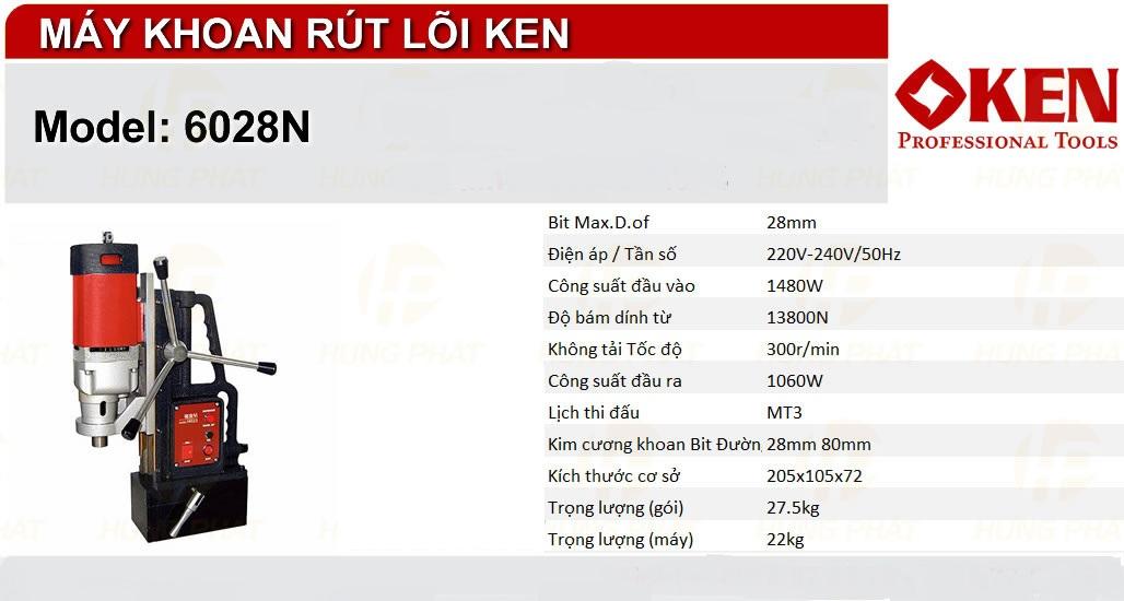 máy khoan từ ken 6028N thông số kĩ thuật